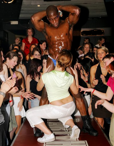 Black man working tail off in club